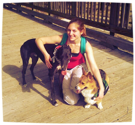 Victoria with her 2 dogs Ramses and Mowgli, who started it all!