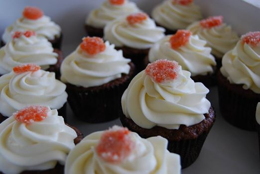 carrot cupcakes with candied carrot garnish