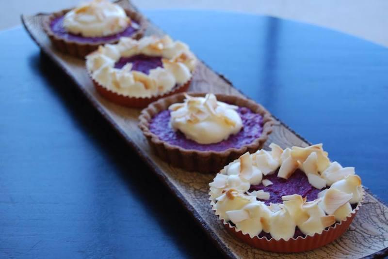 purple sweet potato tartlets