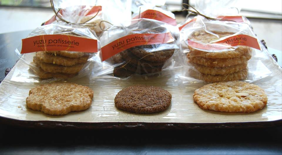 pecan shortbread cookies, ginger cookies, honey almond cookies