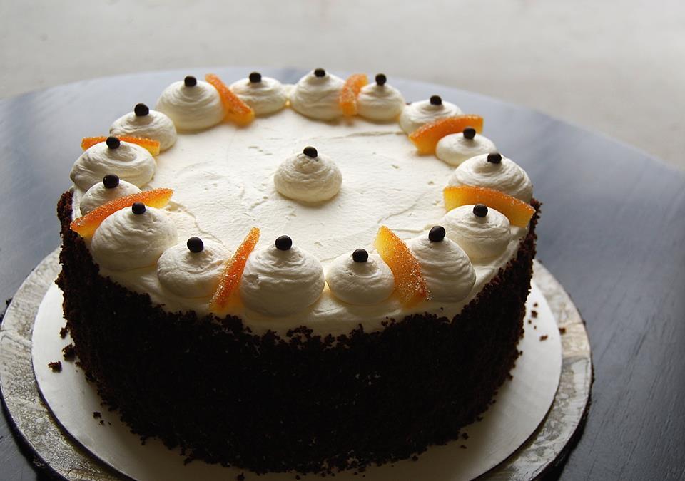 spiced orange and cocoa cream cake