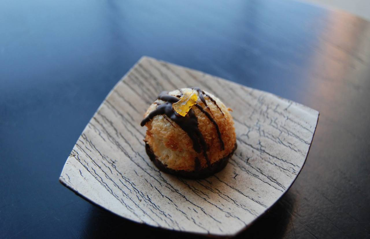 chocolate dipped coconut macaroons with yuzu
