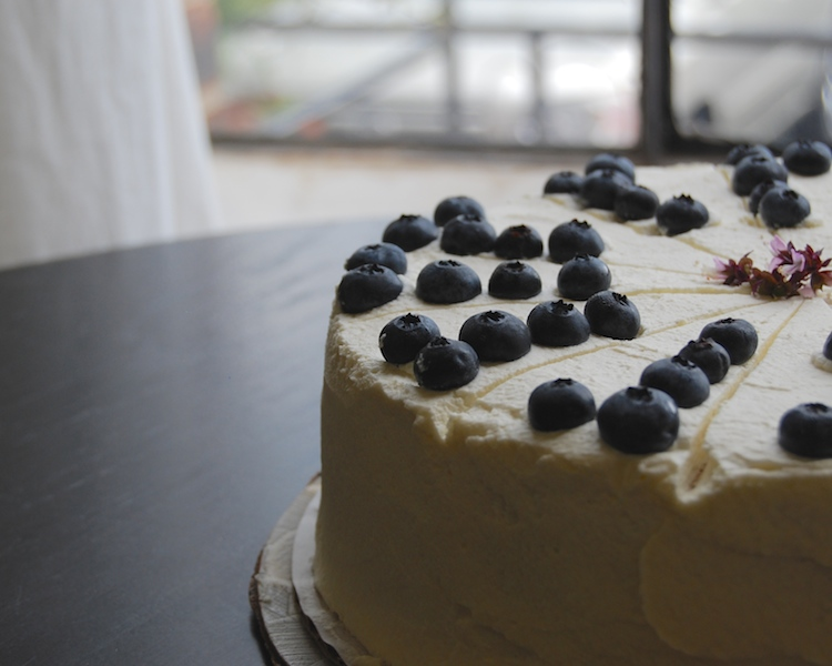 tres leches cake with blueberries