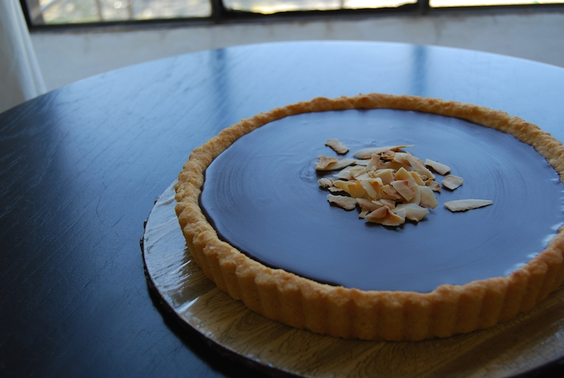 chocolate tart with toasted coconut crust
