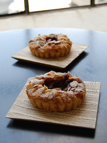 peach, berry, almond pies