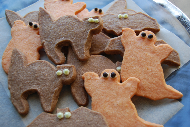 lemon ghosts and chocolate cats and bats shortbread cookies