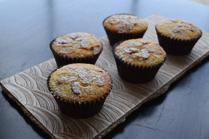 vanilla yuzu cupcake with almond