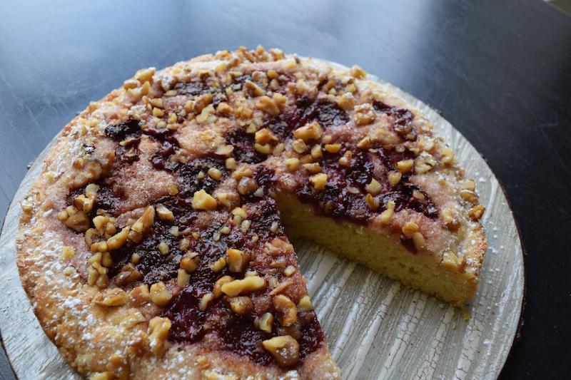 roasted strawberry walnut lemon cake