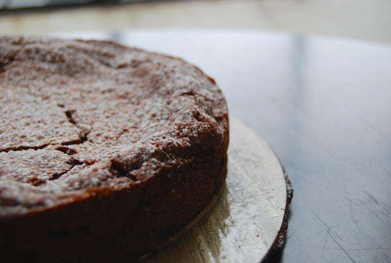 """fallen souffle"" chocolate pecan torte"