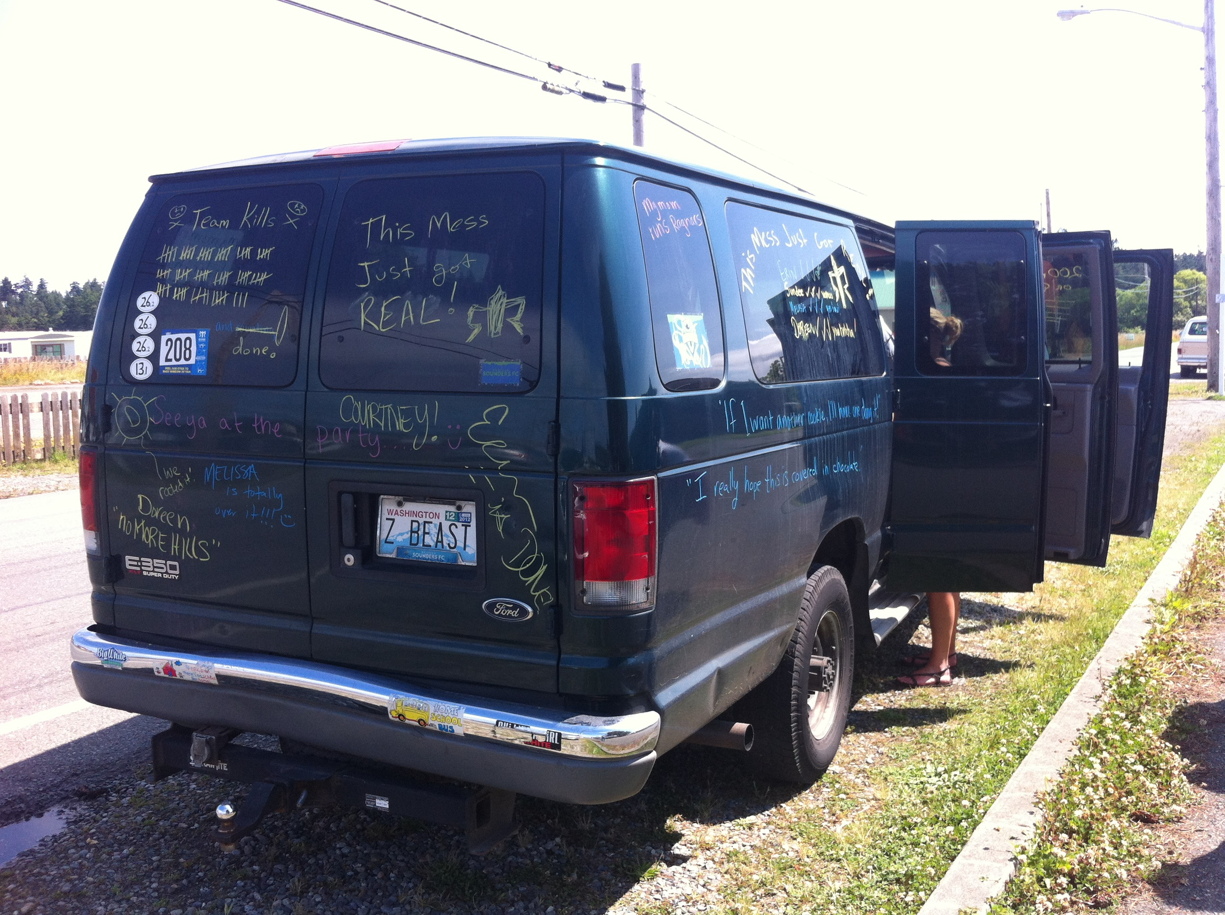 Tracking our kills and progress on the back of the van.