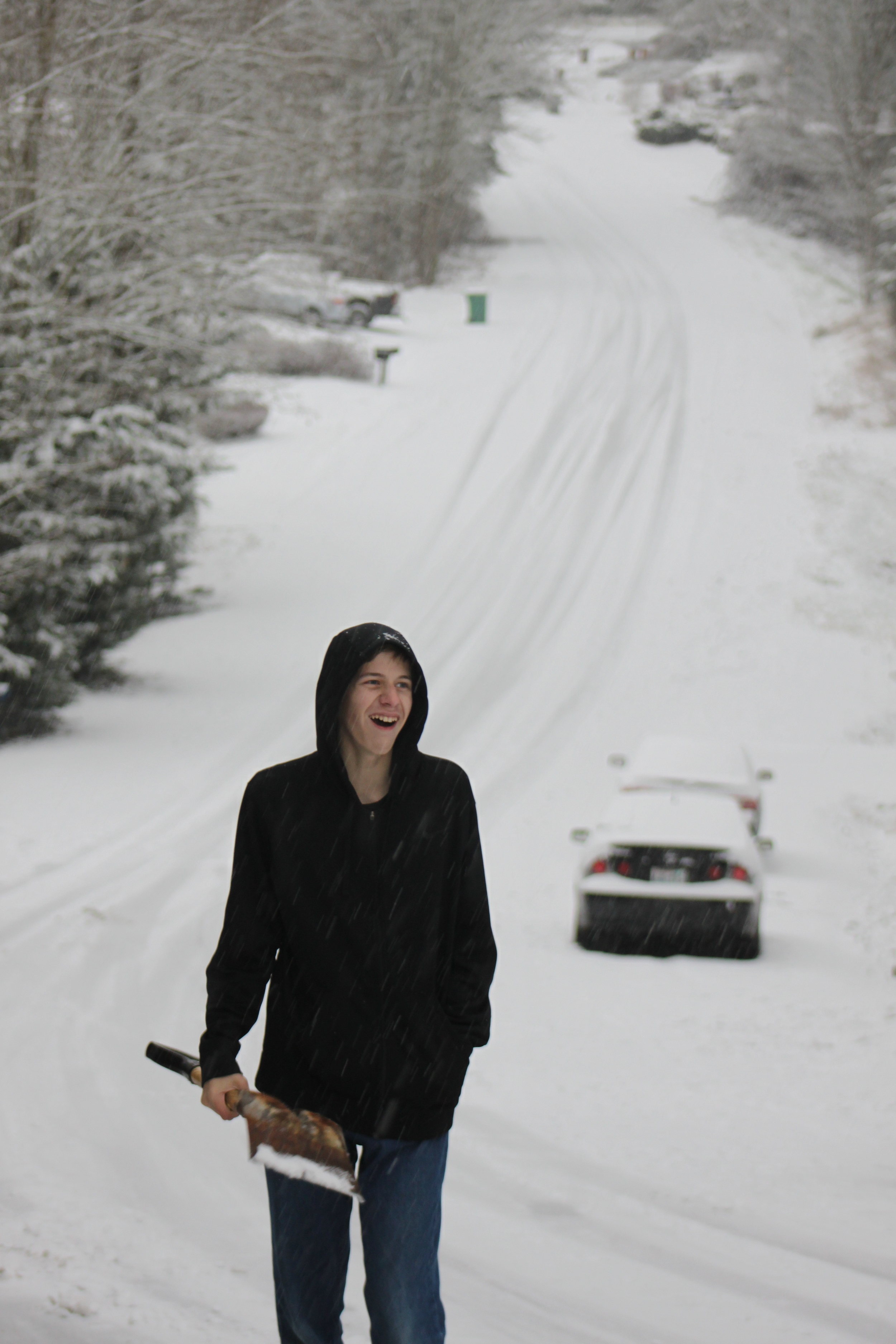 """Chris watching a car almost not make it up """"Tyler's Hill"""""""
