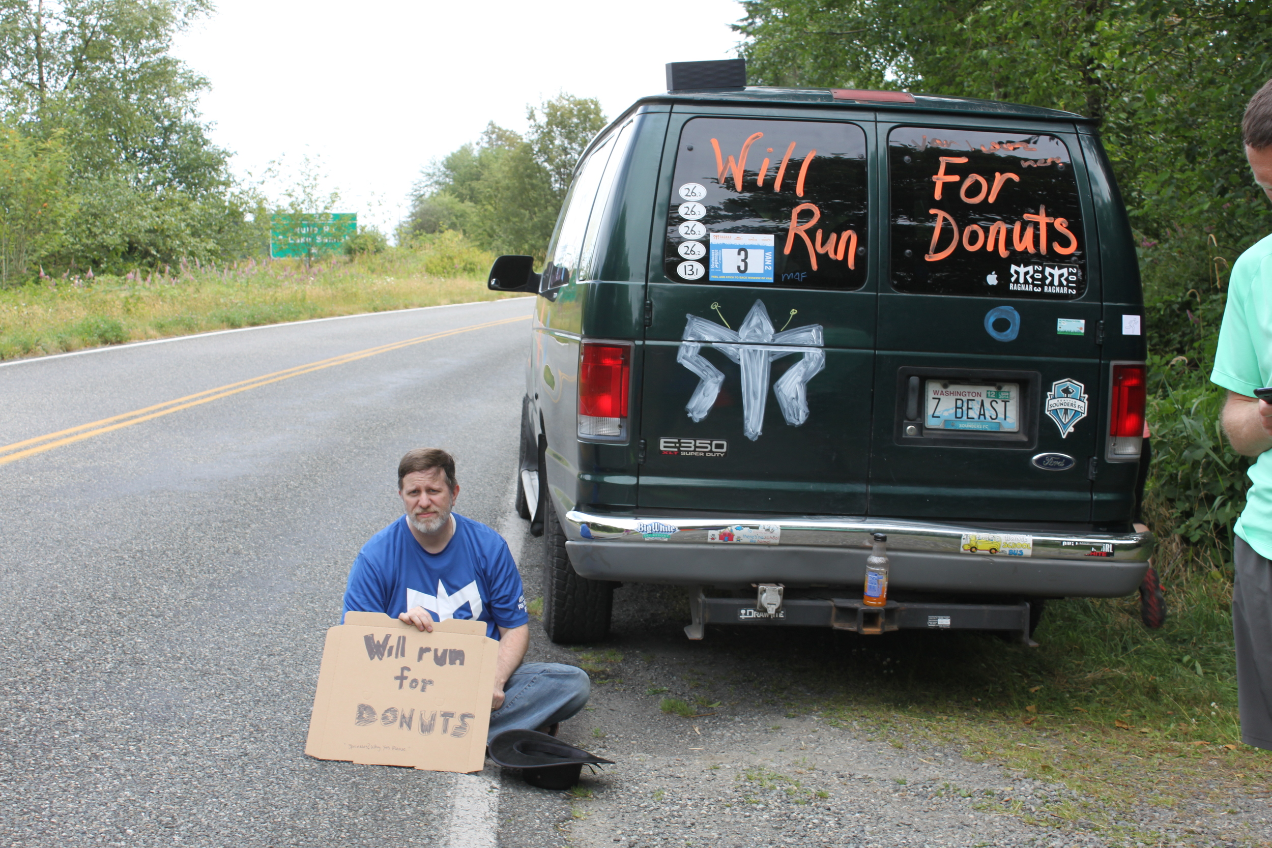 Steve begging on the side of the road.