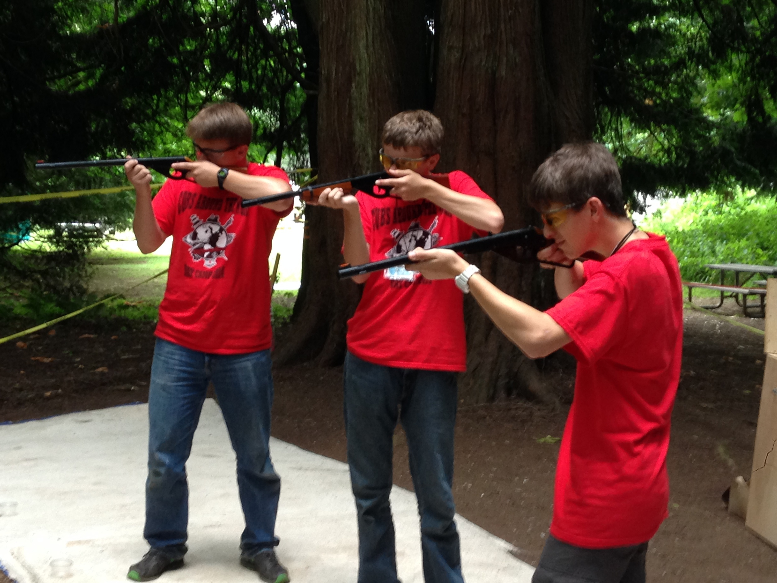 Mike, Chris and Matt making sure all the guns work before camp starts.