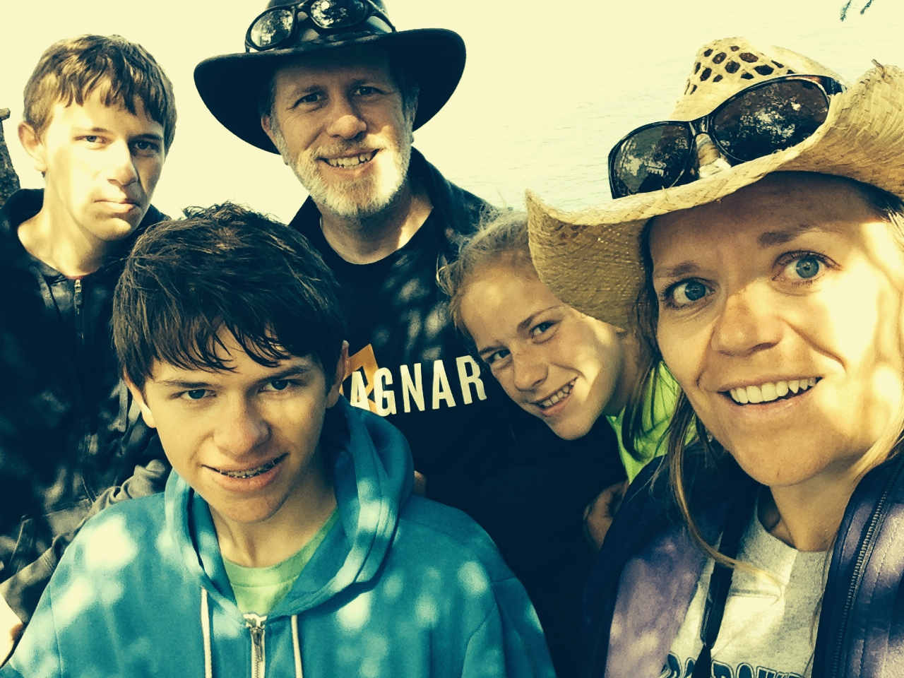 Chris, Steve, Matt, Jessie and Doreen at the most NW corner of the lower 48!