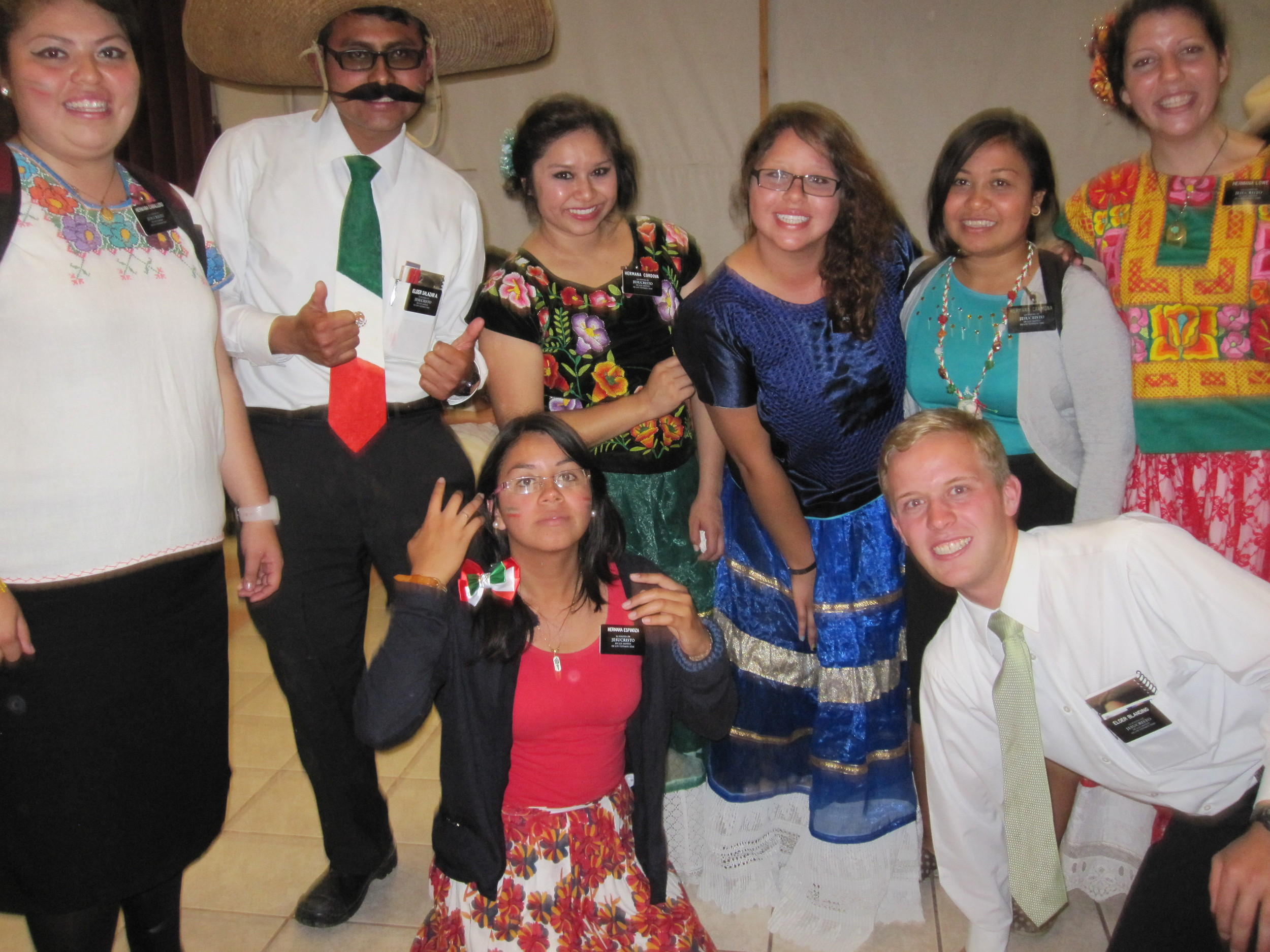 Elder Jason Blanding (he's the blond!) Celebrating Mexican Independence.