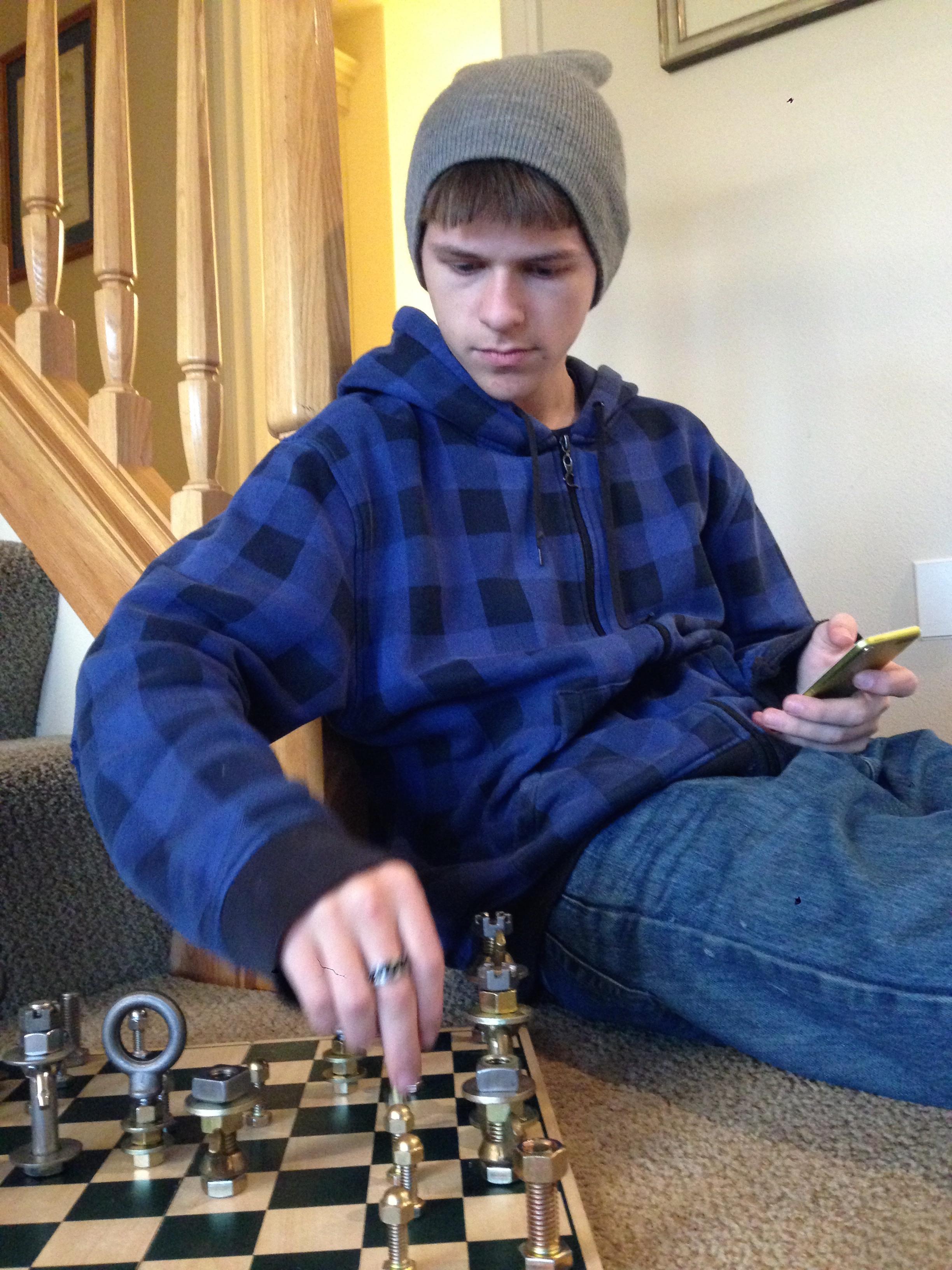 Matt and his new chess set