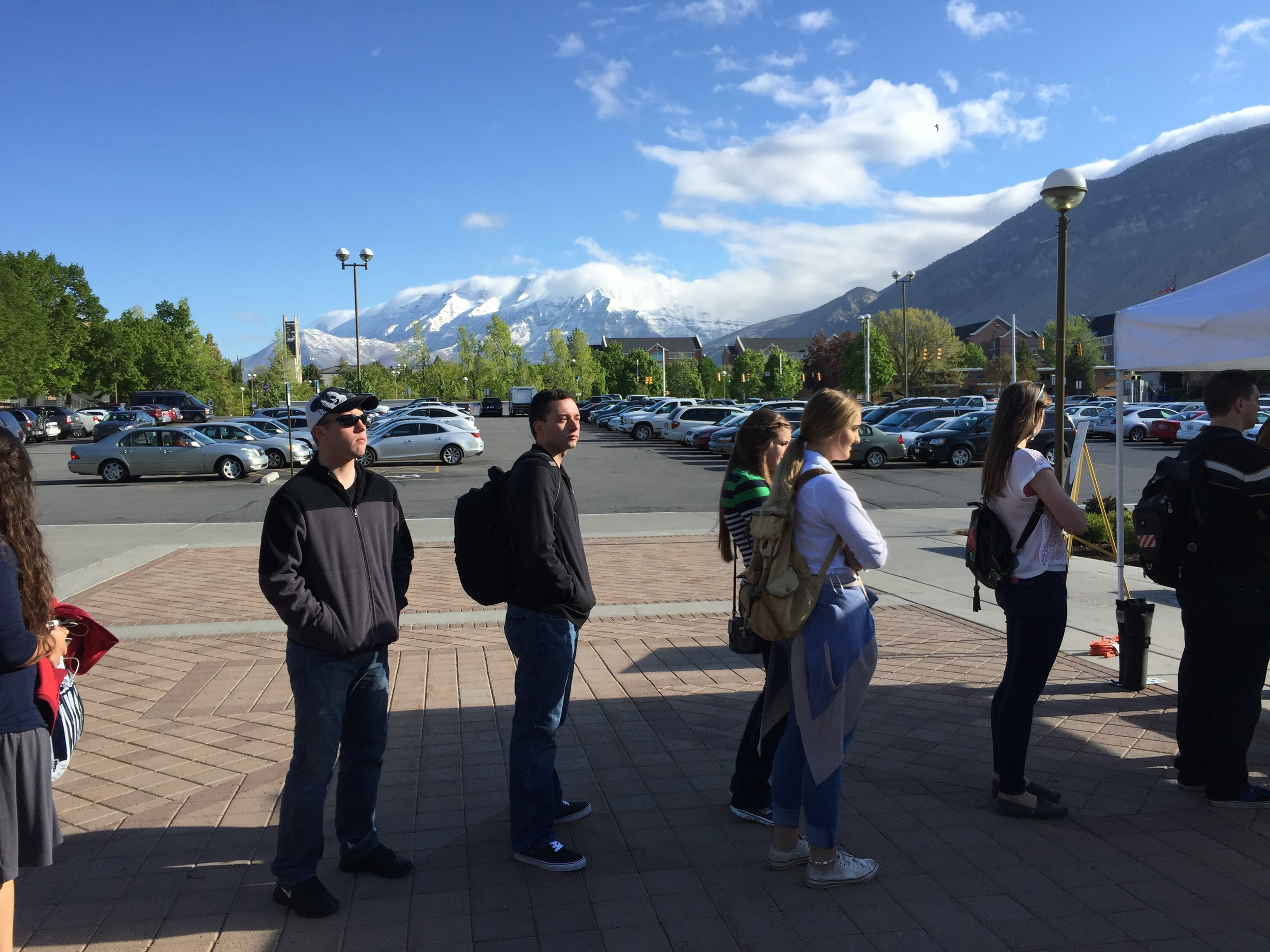 Jason in line for new student orientation. Oh those blue skies and gorgeous mountains.