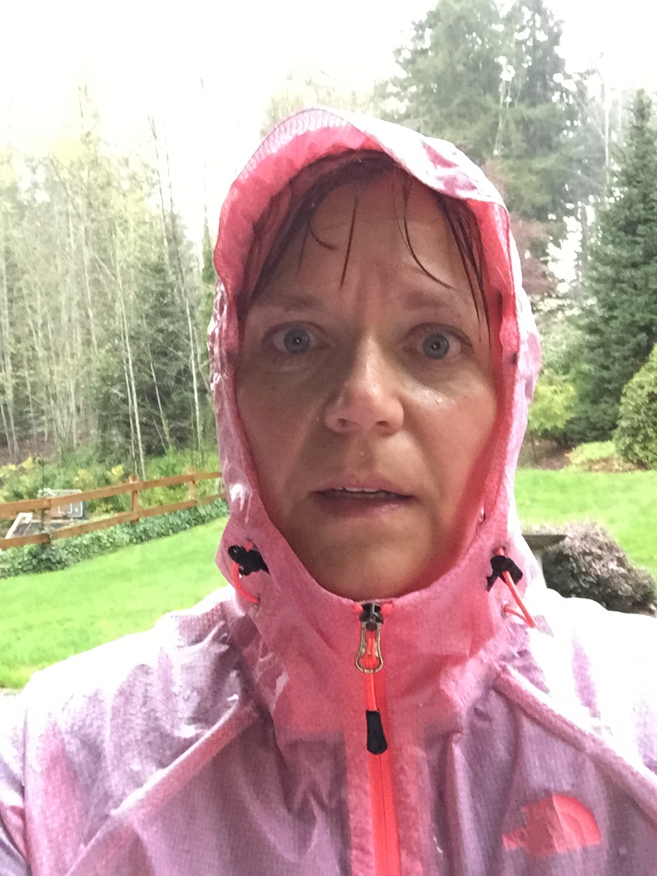 Doreen ran in a thunder, lightening and hail storm. The only thing missing is a hurricane. (She ran in a tornado watch at Disney World--very unknowingly.