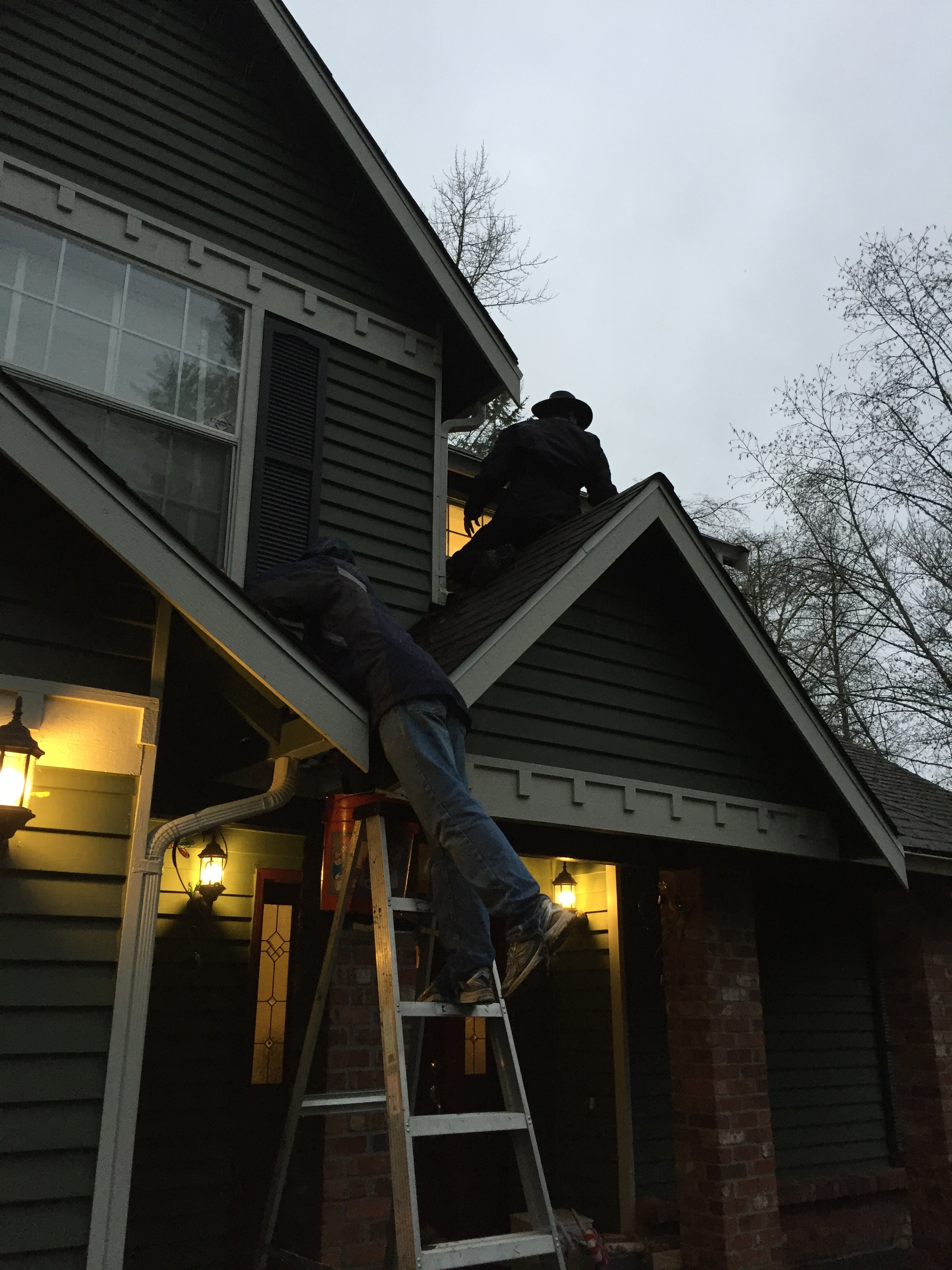 Matt and Steve trying to fix the roof