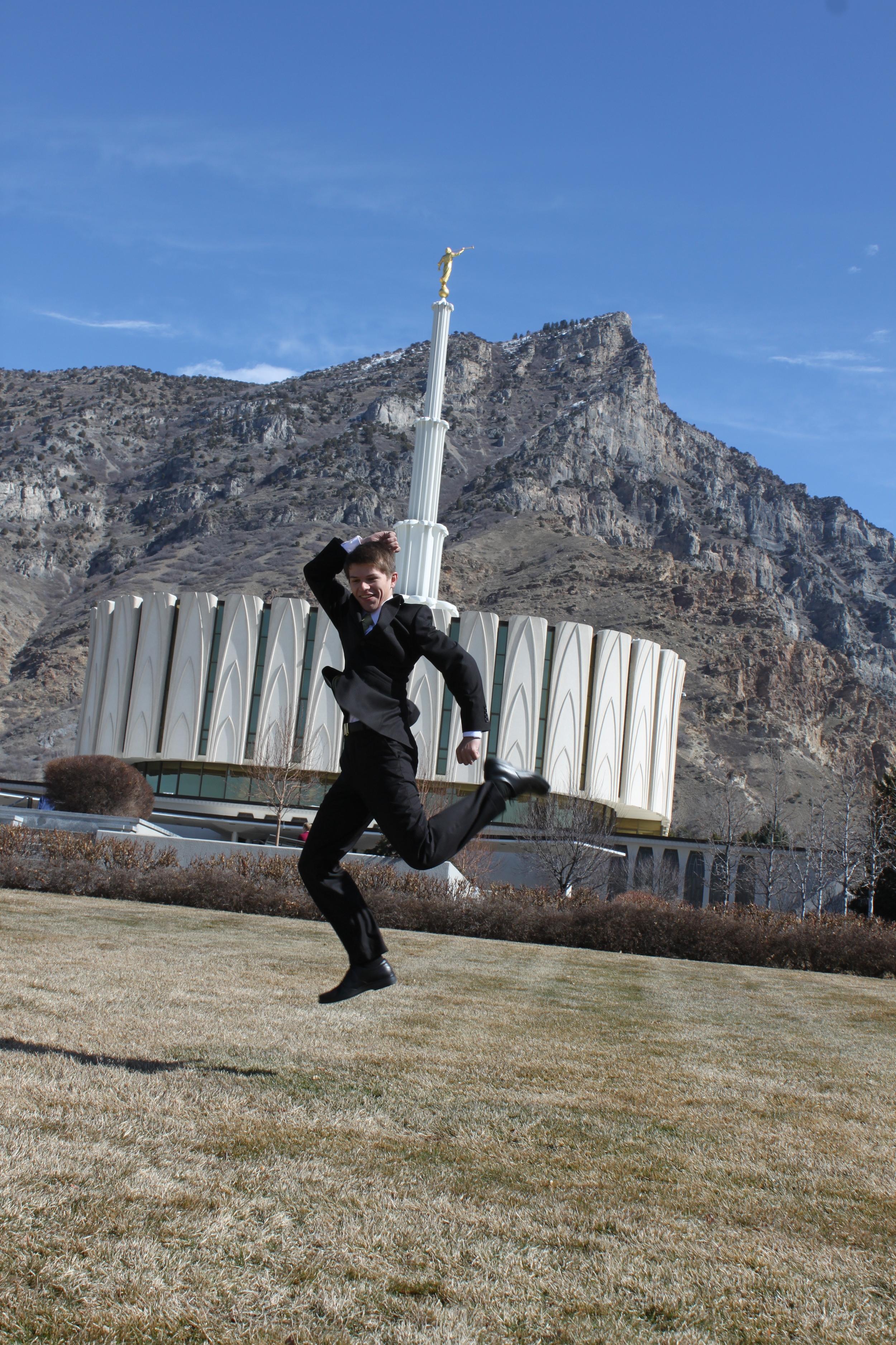 Elder Matthew Blanding jumping for joy!