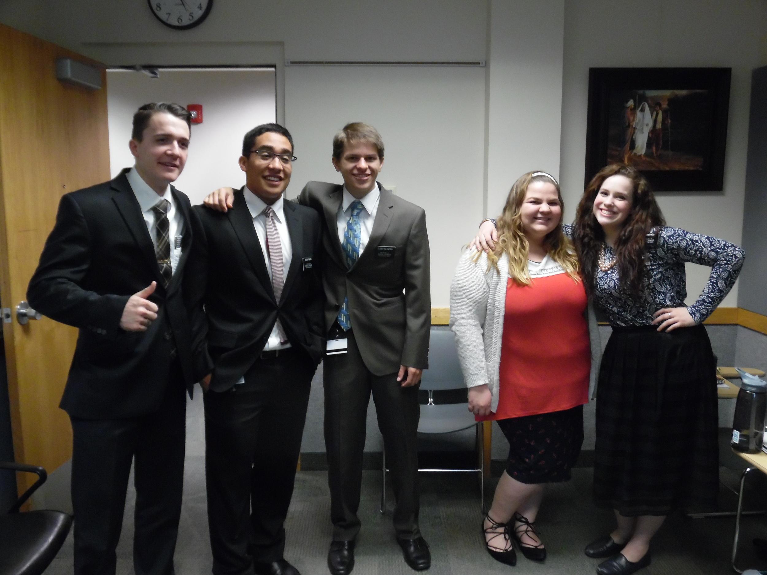 Elder Cahoon, Elder Pinero, Elder Matthew Blanding, Sister Tobin and Sister Finch Matt's District at the MTC