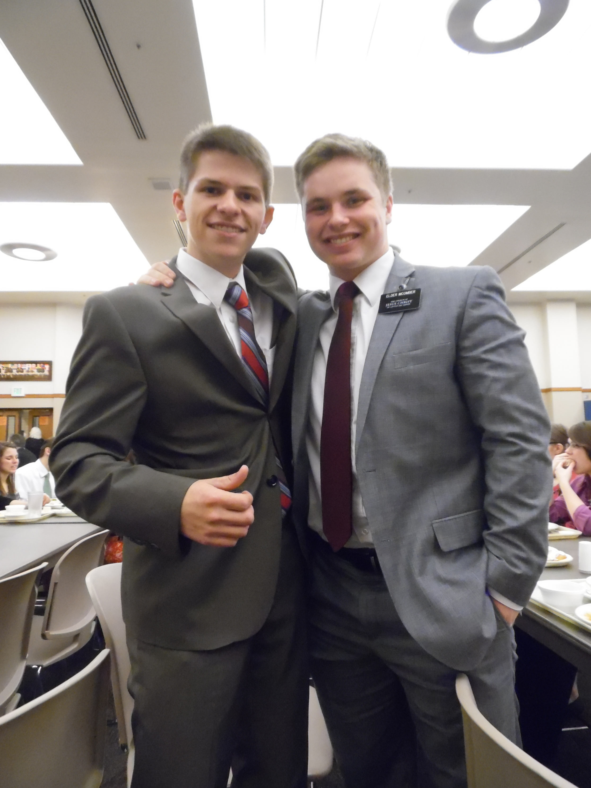 """Elder Matthew Blanding and Elder McComber These two are from the same stake and were Stripling Warriors in the play """"Built on the Rock"""". Elder McComber is going to New Jersey."""