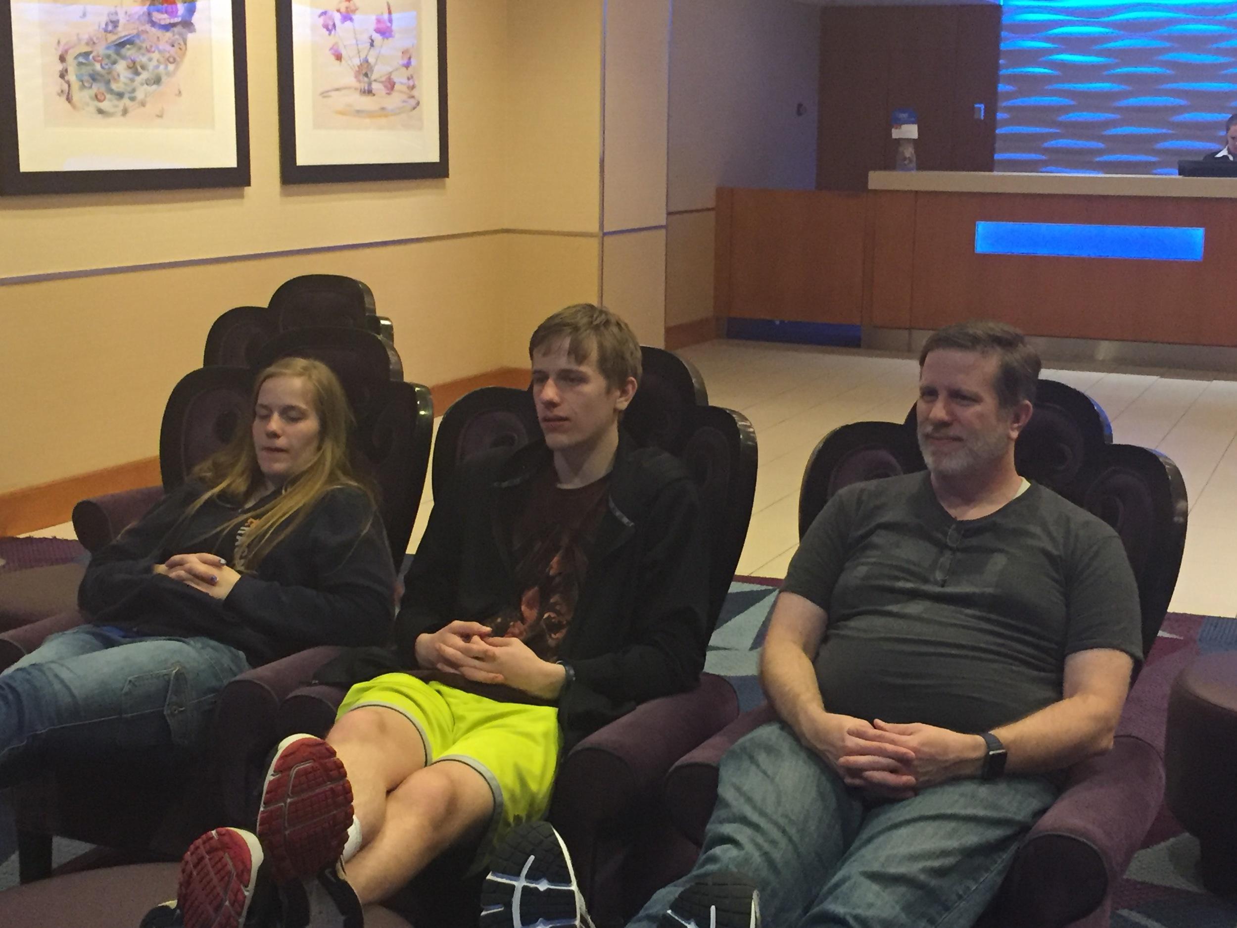 Jessie, Chris & Steve watching Disney cartoons!
