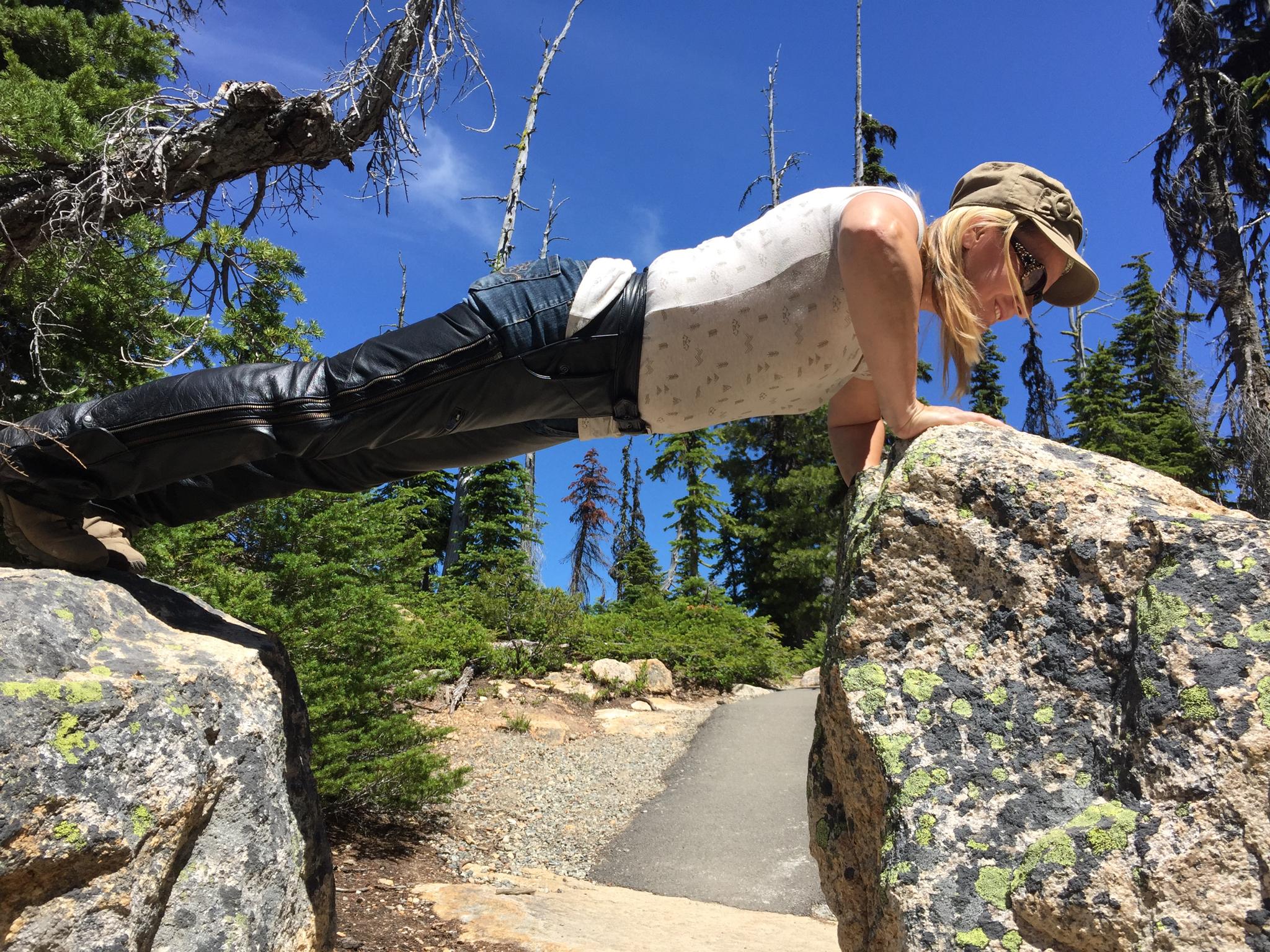 Doreen doing pushups in Washington Pass
