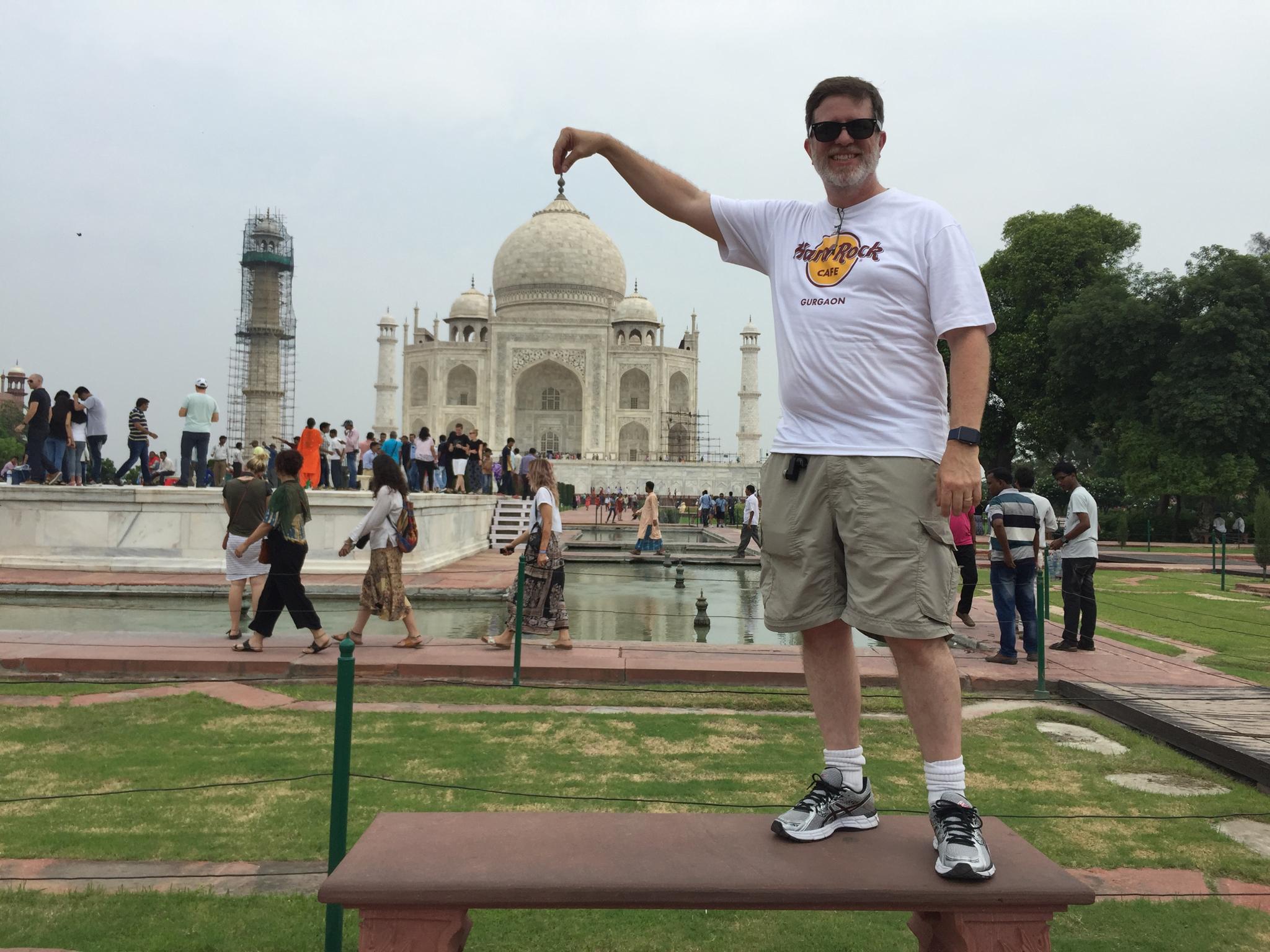 Steve holding up the Taj Mahal