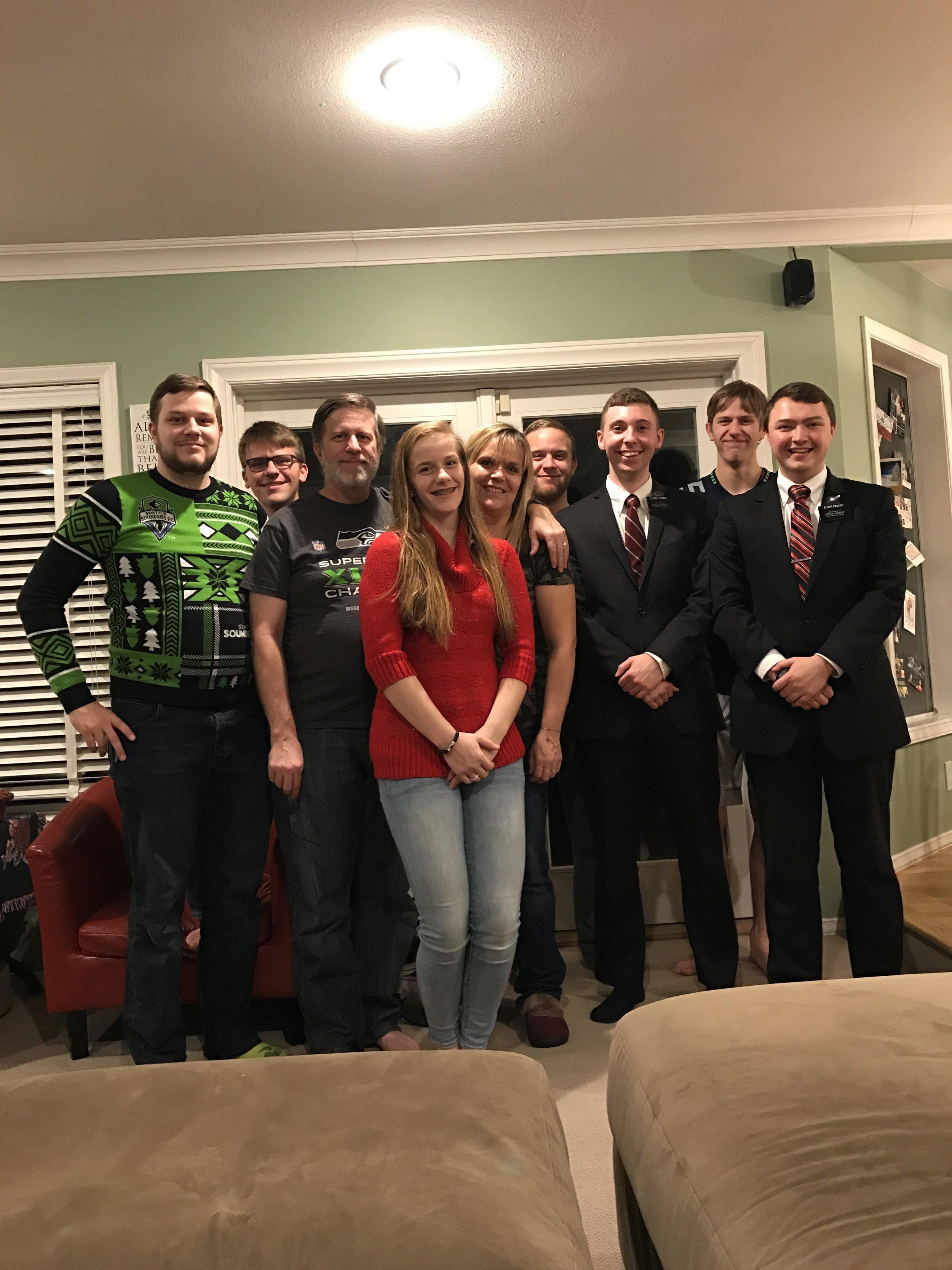 Kray, Mike, Steve, Jessie, Doreen, Jason, Elder Thomas, Chris & Elder Packer
