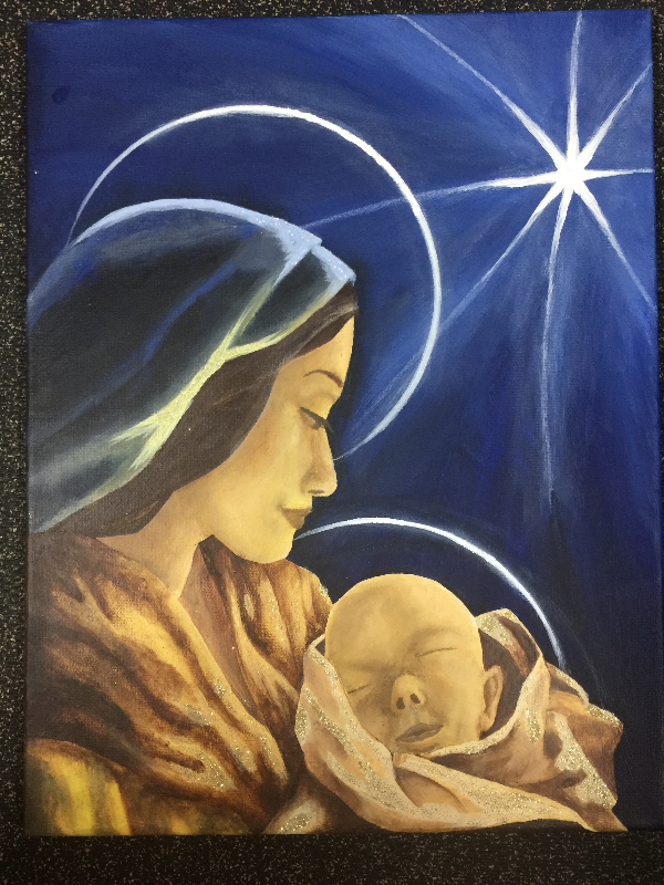 Jessie's Christmas painting this year. She gave it to Mayno.