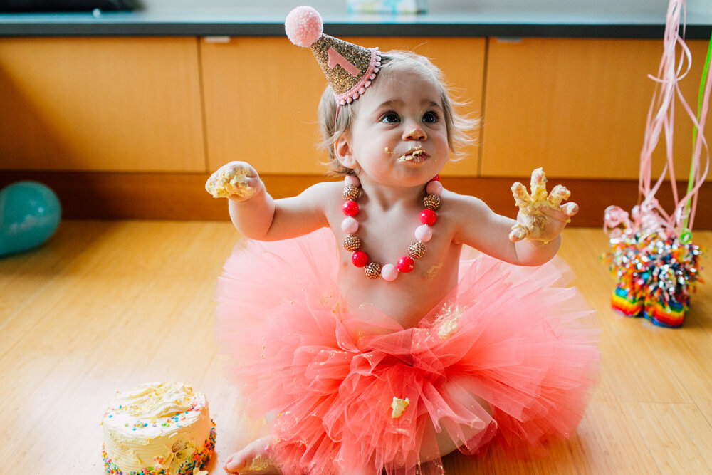Bellingham One year Cake Smash Photographer Katheryn Moran