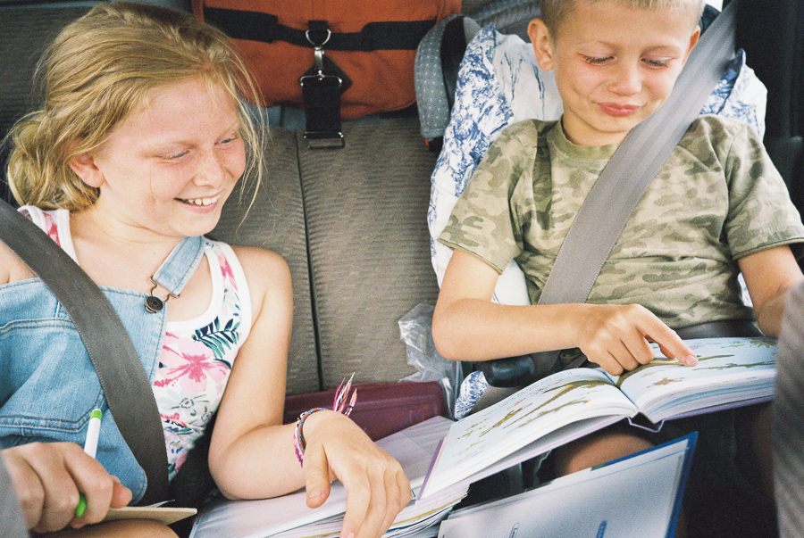 ^ Homeschooling in the car.