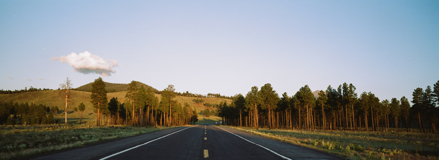 ^ Heading back to Flagstaff from the Grand Canyon during magic hour. The high elevations of Arizona are truly stunning.