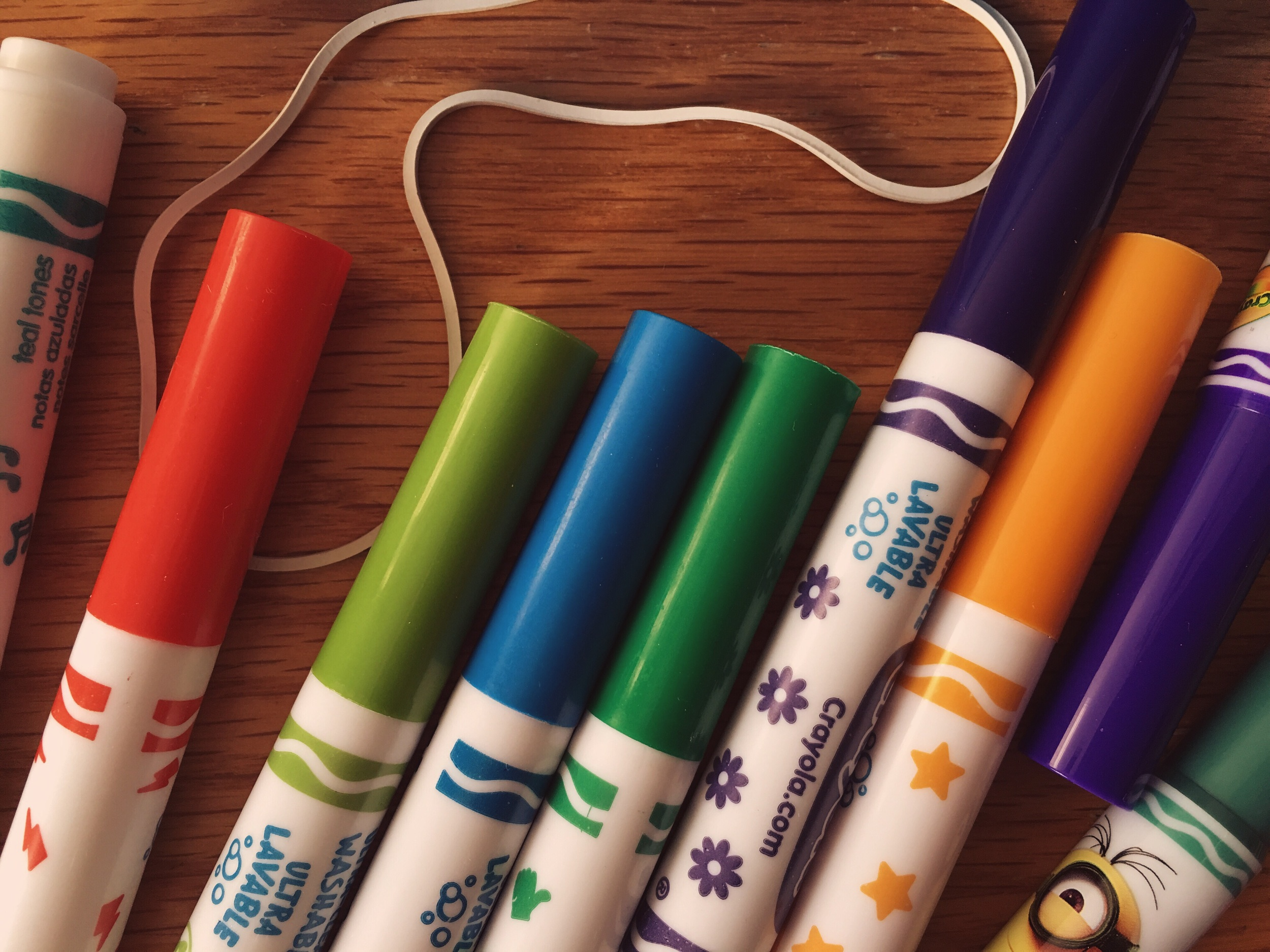 WASHABLE markers. When you're ready to graduate from crayons.