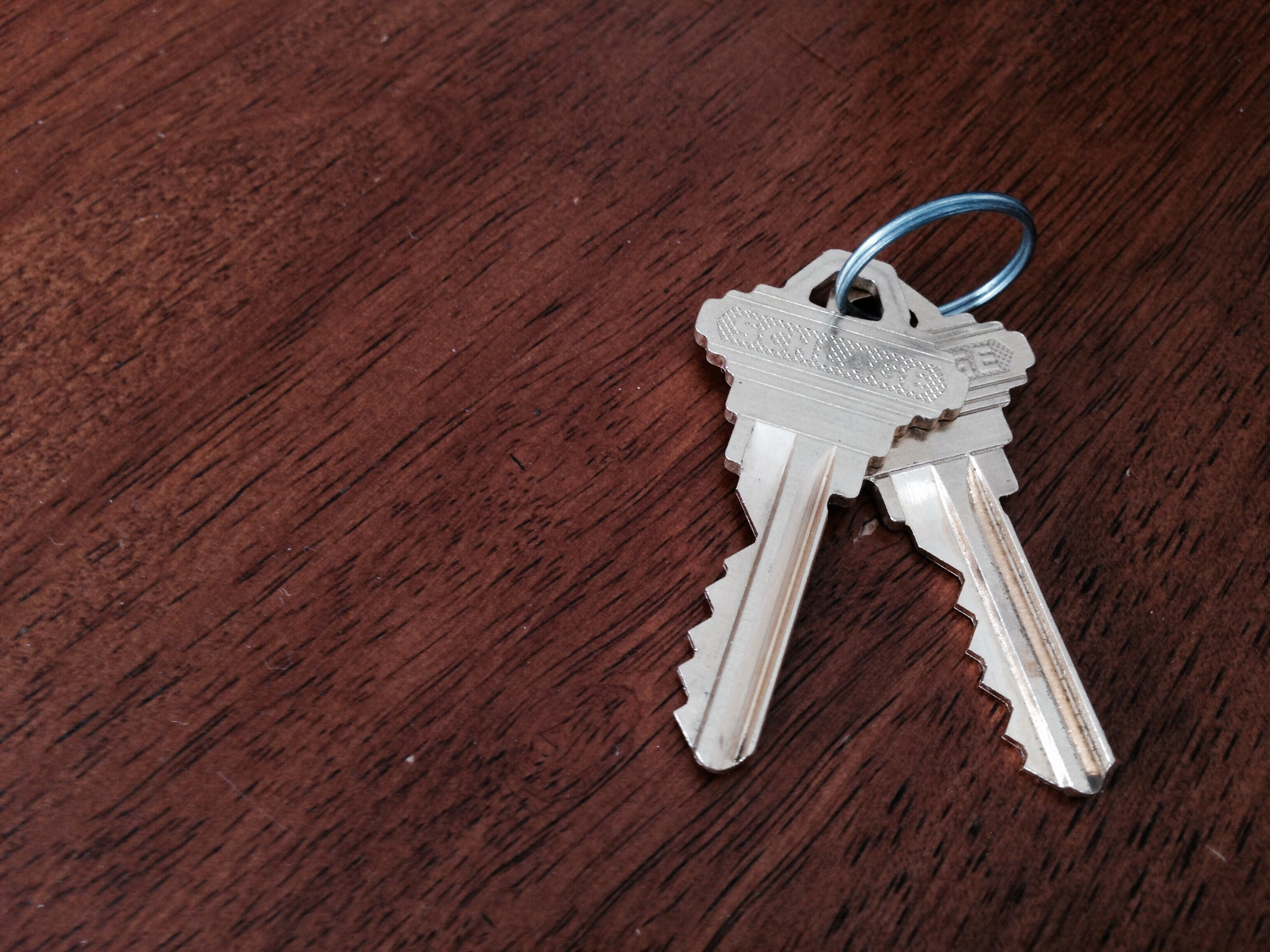 Keys to our new home! I installed the new locks a couple days before we closed.