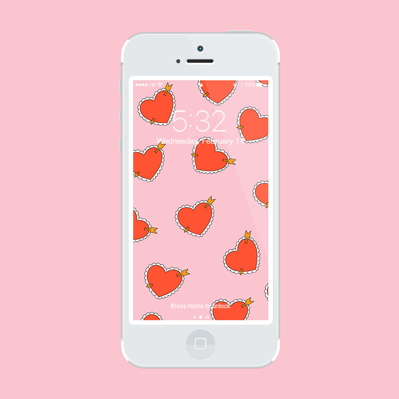 Julia Walck | Valentine's Day Freebie Phone Wallpapers | Arrow Hearts