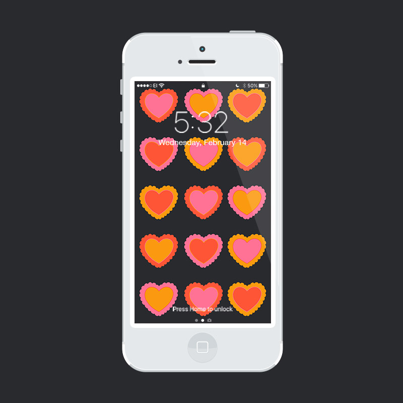 Julia Walck | Valentine's Day Freebie Phone Wallpapers | Doily Hearts