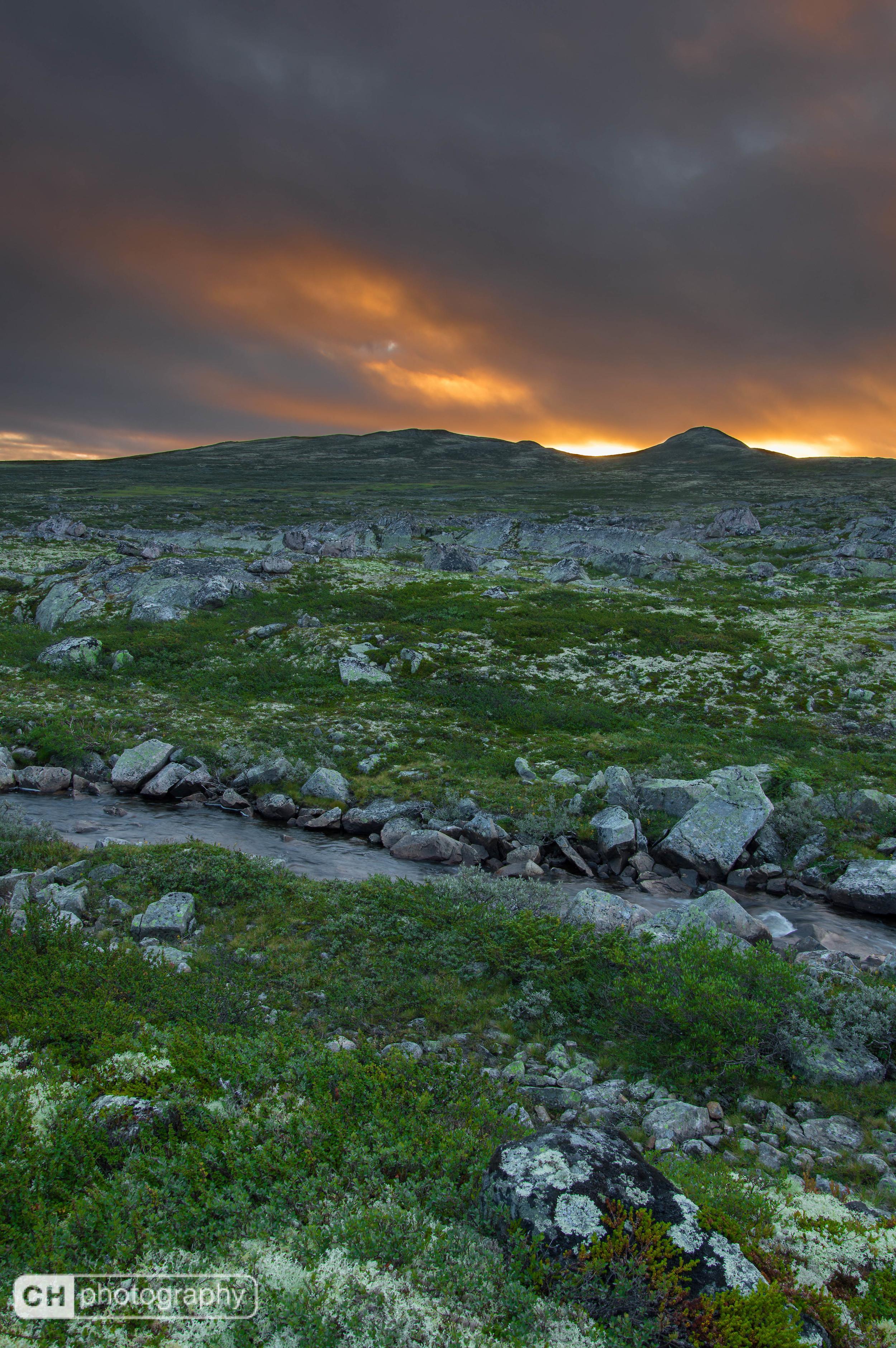 Sunrise over Norwegian landscape