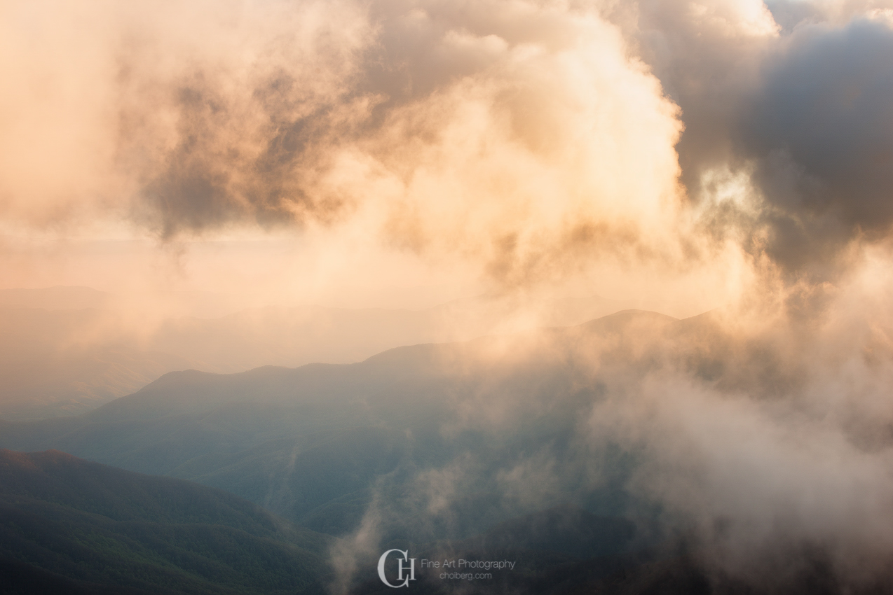 Golden clouds surrounding Smoky Mountains