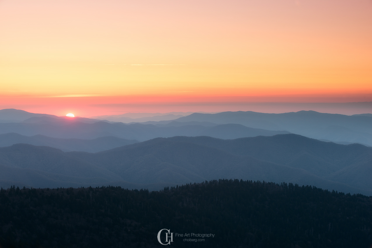Classic Smoky Mountains Sunrise viewed from Clingmans Dome