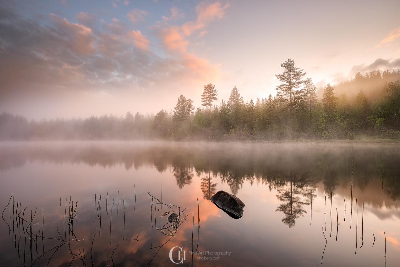 Sunrise at a local lake in Kongsberg, Norway
