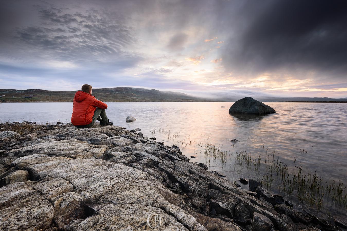 Enjoying a sunrise on Hardangervidda in solitude