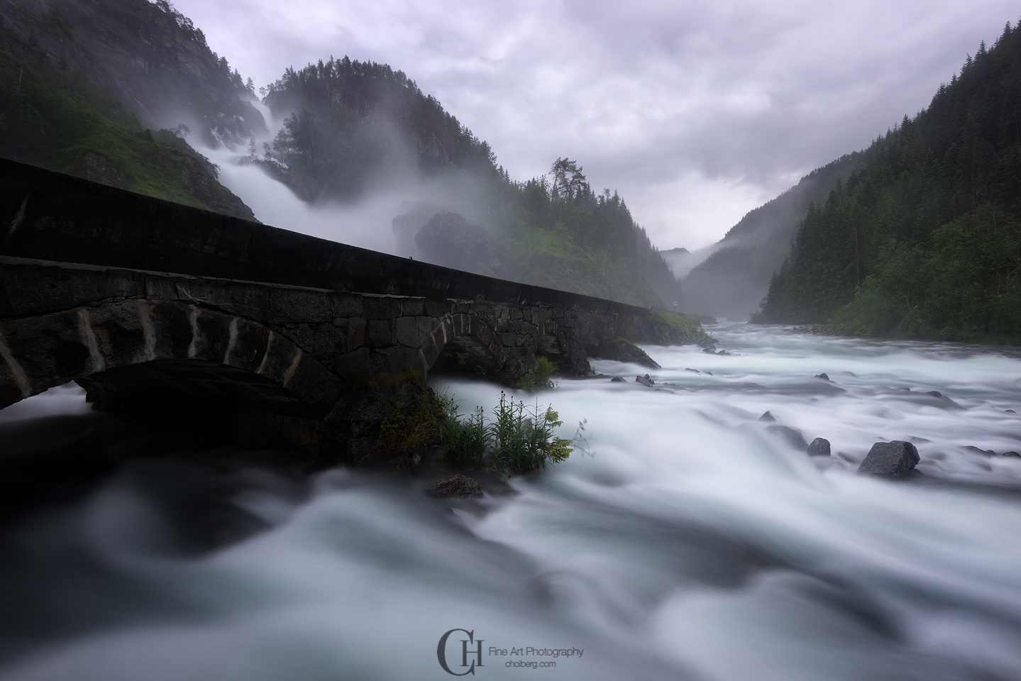 Laatefossen, odda during a cloudy mornig. the water level was so high it was nearly impossible to photograph the falls