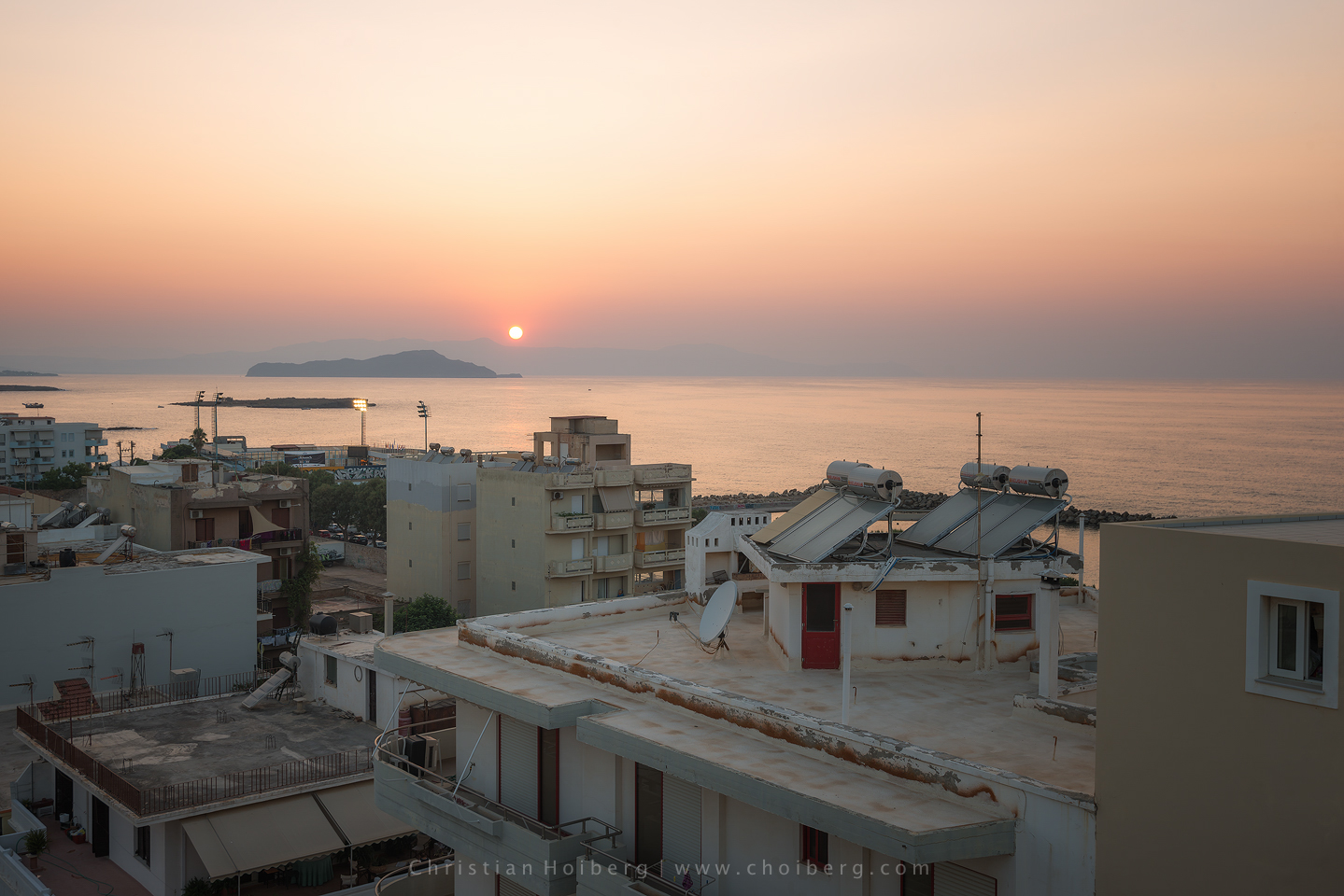Rooftop sunset from Chania