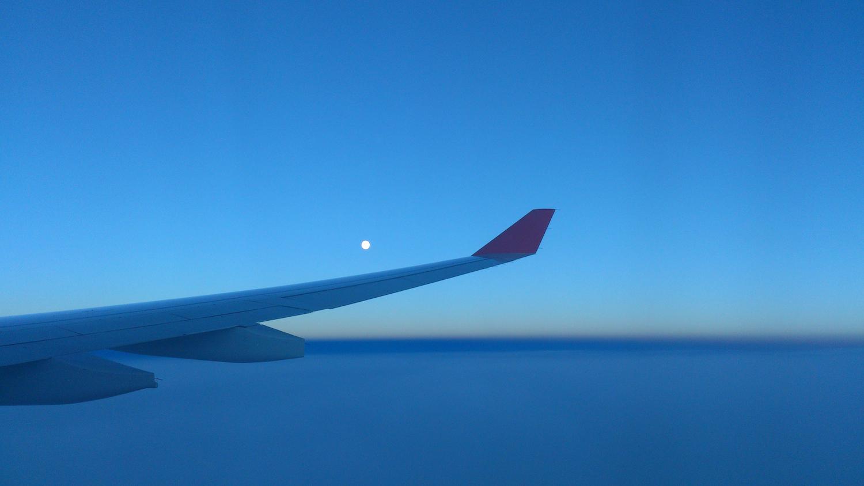 Das Bild zeigt den Blick aus meinem Flieger beim Rückflug nach Japan…