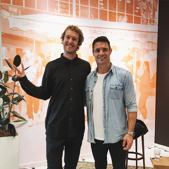 Well worth the 5:20am wake call to spend the morning with the legend @dancarter_ at @allpressespresso - such an amazing career & all round nice guy. There's something about being around the worlds best that just makes you want to be better...proximity is power as @tonyrobbins would say. . Little fact, did you know Dan has a stamp collection? I'll get to that shortly. What stood out for me this morning is not just Dans humble hilarious demeanour & passion to keep footy fun, but also his dream & determination to be an @allblacks & how once he achieved this all he wanted to do was to be one of the greatest & play for 10+ years!!! He did this & some! Overcoming several injuries, set backs & a set up by an Australian who filmed him trying to do latte art next to the worlds best latte artist at a coffee festival in London all caught on TV. . He loves a flat white but not the fact that his mate @colinslade is too cheap to give him a free brew at his cafe in France, hah. He's also just had neck surgery, released his new doco - Perfect 10 - loves a game of golf, is off to japan to play one last season & was once invited to the captain of @acmilan - @paolomaldini - retirement party & treated like royalty amongst the biggest names in the game like my mate @davidbeckham. His heroes are @tombrady & @rogerfederer & funnily enough & back to the start he still receives stamp collections from fans as one of his mates stitched him up in an interview & said he loved stamp collecting as a hobby. Thanks for your time Dan, can't wait to catch the doco. ✌🏼#dancarter #allblacks #rugby #allpress #tombrady #rogerfederer #coffee