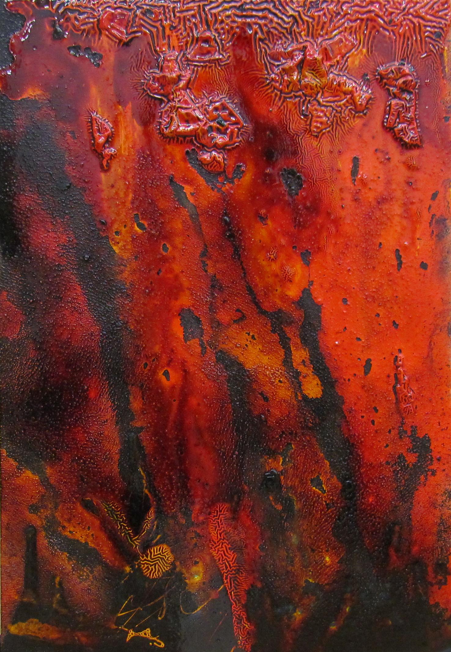 Cashew Colour Study VI / カシュー色彩 VI   gesso, cashew lacquer and sumi ink on wooden board / カシューニス、ジェッソ、墨  26x38 cm
