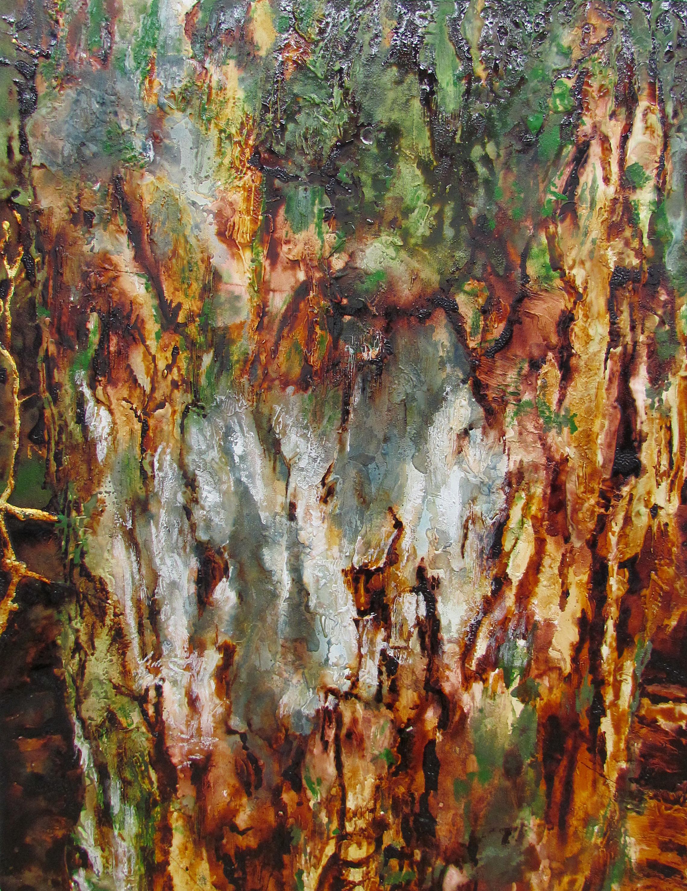 Tree Trunk II - Jyukai / 木の幹II (樹海)  gofun, cashew lacquers, gold leaf on wooden board / 胡粉、カシューニス、金箔
