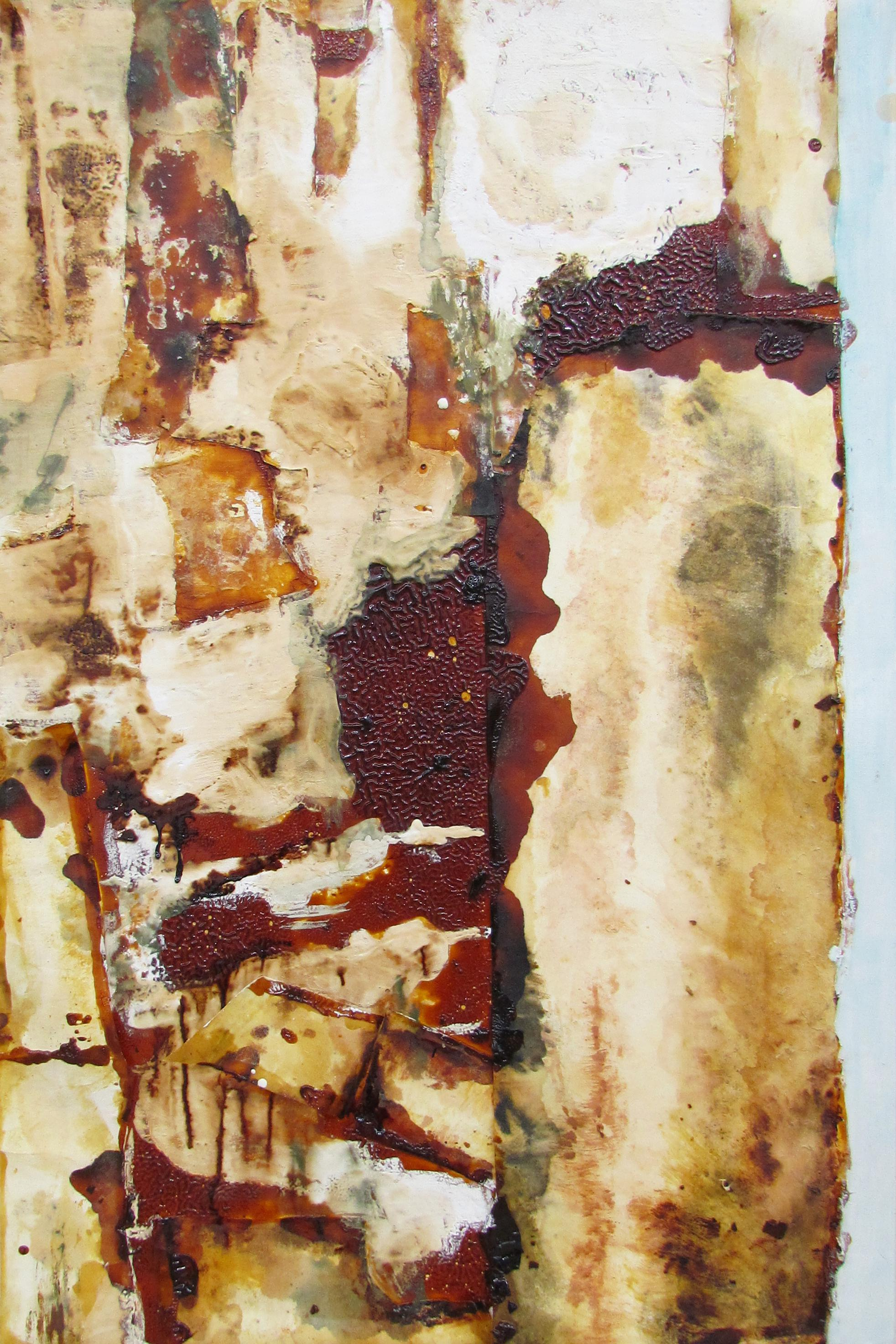 """Collage Study for Ruined Building /   習作 """"廃墟""""  japanese paper, gofun, cashew lacquer,urushi, mineral pigments / 和紙、胡粉、カシューニス、漆、岩絵具  80x50 cm"""